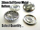 38mm Metal Self Cover Buttons Brass Silver Fashion Snap Blank Buttons