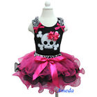 Halloween Zebra Black Pink Tutu Pettiskirt Skull Short Long Sleeves Tank Top 1-7