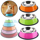 Pets Small Dog Puppy Anti Skid Stainless Steel Feeding Food Drink Bowl Plate DH