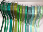 Berisfords Double Sided Satin -GREEN SHADES 3-50mm full range available (see ad)