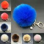 New 8cm Rabbit Fur Fluffy Pompom Ball Handbag Car Pendant Key Chain Keyrings