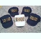 BRIDE SQUAD Baseball Caps White/Black Caps with Gold/Silver Print Singly/Packs