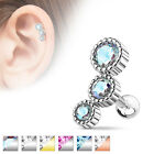Cartilage Tragus Helix Bar with 3 CZ Gems Surgical Steel