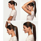 """18"""" Magic Tape Wrap On Ponytai Long Straight Clip In Hair Extensions Hair Pieces"""