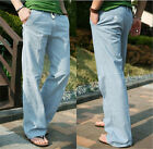 New Mens Casual Loose Drawstring Waist Solid Linen Trousers Beach Pants Fashion_