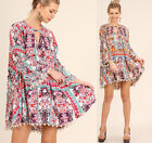 SML Umgee Crochet Lace Chic Boho Floral Swing Flowy Bell Sleeve Tunic Top Dress