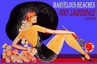 FORT LAUDERDALE MARVELOUS BEACHES FASHION GIRL HAT TRAVEL VINTAGE POSTER REPRO