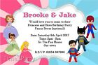Personalised Princess and Hero Birthday Party Invitations Fancy Dress Superhero
