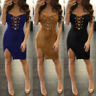 Women Bandage Suede Bodycon Lace Up V Neck Cocktail Ladies Split Party Dress