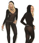 Sexy Lingerie Long Sleeve Bodysuit Opaque Bodystockings with Hood *Open Crotch*
