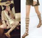 Womens Leather Flats High Lace Up Strappy Knee Sandals Gladiator Shoes Plus Size