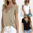 Women Summer Lace-up V Neck Short Sleeve Blouse Casual T-Shirt Fashion Tops