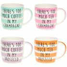 Wise Words Striped China Mugs - various Wording Boxed.  A Perfect Fun Gift Idea