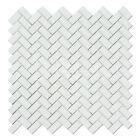 Thassos White Greek Marble Mini Herringbone Mosaic Tile