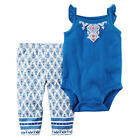 Carter's 2 Piece Blue Printed Bodysuit with White Printed Leggings Set