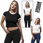 Urban Classics Damen Top Cropped Ringer Tee Bauchfrei Kontrast Top-Shirt T-Shirt