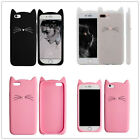 3D Cute Black Clear Cat Ears Beard Silicone Case Cover For iphone 5s SE 6s 7Plus