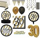 BLACK & GOLD Age 30 - Happy 30th Birthday Bday PARTY ITEMS Decorations Tableware