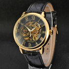 Business Men's Hollow Out Mechanical Dial Quartz Leather Strap Dress Wrist Watch