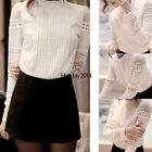 Womens Stylish Long Sleeve Lace Shirt Casual Blouse Loose Cotton Tops Blouse