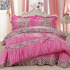Hot Pink Leopard Print Queen King Bed Quilt/Doona/Duvet Cover Set New 100%Cotton