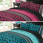 Leopard Animal Print Pink Teal Reversible / Duvet Quilt Cover Bedding Set