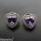 Romantic Heart Design Fancy Purple Amethyst Topaz 925 Sterling Silver Earrings