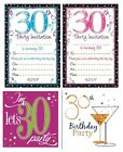 AGE 30 - 30th BIRTHDAY Party Invitations & Envelopes Boy Male Girl Female Invite
