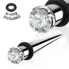 Pair Surgical Steel Prong Gem Tapers Expanders Plugs Earrings Gauges