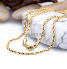 """2/2.5/3/mm Womens Men Chain Gold Tone Rope Stainless Steel Chain Necklace 18-40"""""""