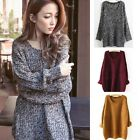 Fashion Womens Lady Crewneck Long Sleeve Pullover Sweater Knitted Outwear Top