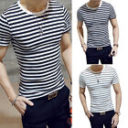 Men Stylish Top Slim Fit Casual Fashion T-shirts Striped Shirt Short Sleeve Top