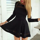 Womens Summer Long Sleeve Cocktail Mesh Evening Party Bodycon Mini Dress