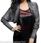 Gray Round Cocoon Wrap Style Long Sleeve Shrug/Cover-Up Cardigan S/M/L