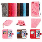 Strap Bling Emboss Butterfly Leather Wallet Card Flip Case Cover For Samsung YB