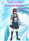 HANDMADE PERSONALISED ANIME FAIRY TAIL 'ERZA SCARLET' BIRTHDAY CARD