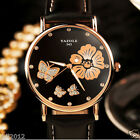 Vintage Women Watches Ladies Casual Flower Dial Leather Quartz Dress Wrist Watch