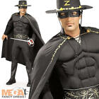 Deluxe Zorro Mens Fancy Dress Movie Mexican Hero Adults Costume Outfit + Hat New