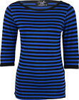 Küstenluder GENTIANA Stripe 50s Streifen Sailor 3/4 Arm Shirt - Blau Rockabilly