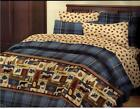 New Bear Moose Deer Fish Blue Plaid Cabin Comforter Sheets BIB Full  King