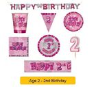 AGE 2 - Happy 2nd Birthday PINK GLITZ - Party Banners, Balloons & Decorations