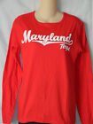 Maryland Terrapins Longsleeve T-Shirt WOMENS NEW Red Terps Tee Shirt Ladies