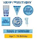 AGE 7 - Happy 7th Birthday BLUE GLITZ - Party Balloons, Banners & Decorations