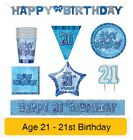 AGE 21 - Happy 21st Birthday BLUE GLITZ - Party Balloons, Banners & Decorations