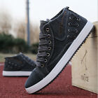 2017  New Men's high-top sneakers canvas shoes breathable England casual shoes