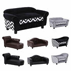 Pet Sofa Dog Cat Couch Wooden Luxury Leather Foam Cushion 4 Styles 2 Colours