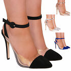 NEW LADIES WOMEN COURT PERSPEX POINTED FASHION STYLE HIGH HEELS SHOES SIZE 3-8