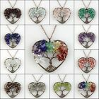"""Natural Amethyst Labradorite Chip Beads Tree of Life Heart Pendant Necklace 18"""""""