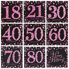 Pink Sparkling Celebration Happy Birthday Party Table Napkins Serviettes