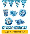 AGE 40/40th Birthday BLUE SPARKLE Birthday Party Range - Tableware Banners Decs